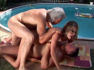 Nasty girl Laraan fucked by two horny older guy