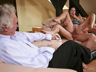 VIDEO !!! Lovely young blonde gets a cuckolding birthday surprise from her own older hubby
