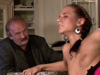Slim young trophy wife gets her needs satisfied by husbands buddy on his watch