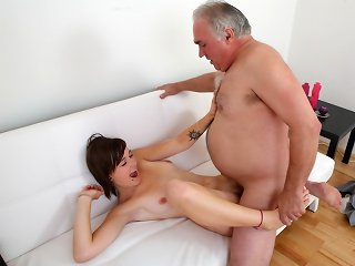 Inna can't get enough of this old guy showing her how to suck a pair of nipples.  She certainly has something to tell her boyfriend where returns to collect her. Will she go back to him though?